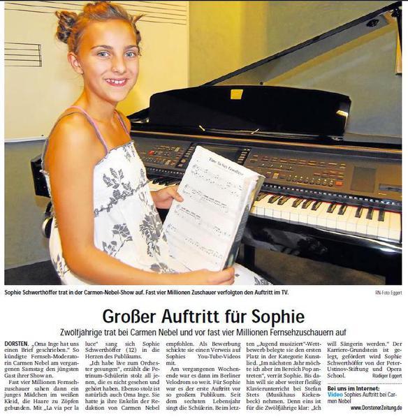 Großer Auftritt für Sophie, bei Carmen Nebel ZDF