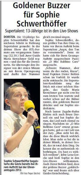 """""""Goldener Buzzer für Sophie"""""""