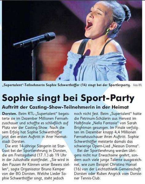 Sophie singt bei der Sport Party