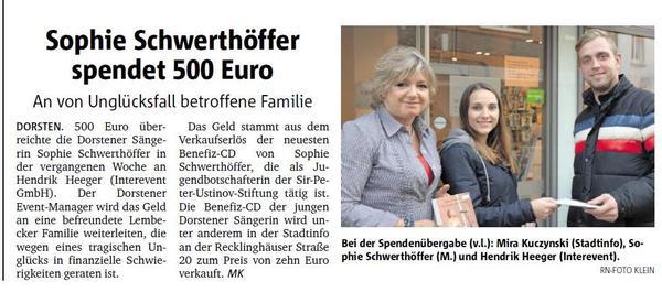 Sophie Schwerthöffer spendet 500 Euro