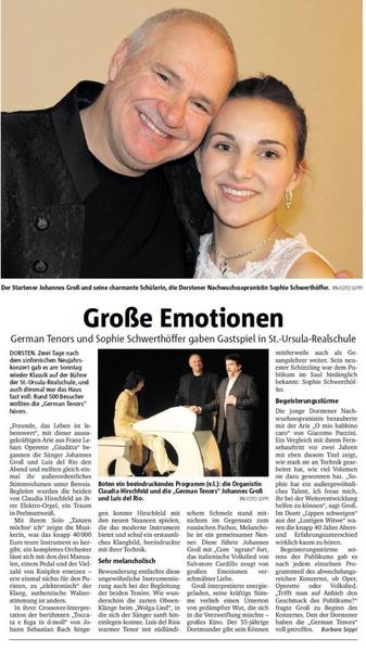 Große Emotionen - German Tenors und Sophie Schwerthöffer gaben Gastspiel in der St. Ursula Realschule