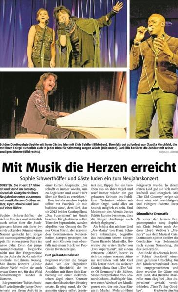 Mit Musik die Herzen erreicht Sophies Konzert 21.01.2017